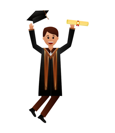 happy graduate man in graduation dress vector illustration