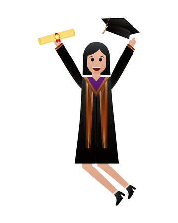celebrating happy graduate woman in graduation dress vector illustration Vector Illustratie