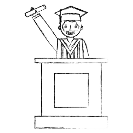 graduate man with diploma in the podium vector illustration hand draw Ilustrace