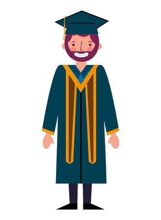 graduate man with graduation robe and cap vector illustration Reklamní fotografie - 112388298