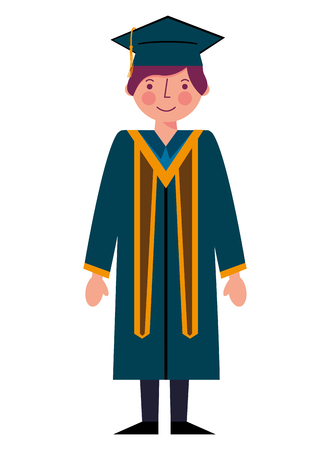 graduate man with graduation robe and cap vector illustration