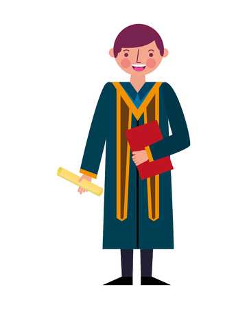 graduate man with graduation robe holds certificate vector illustration