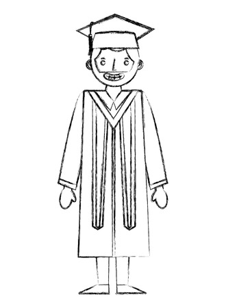 graduate man with graduation robe and cap vector illustration hand draw