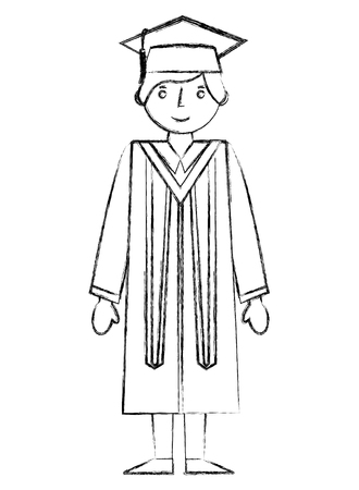 graduate man with graduation robe and cap vector illustration hand draw Reklamní fotografie - 105561019