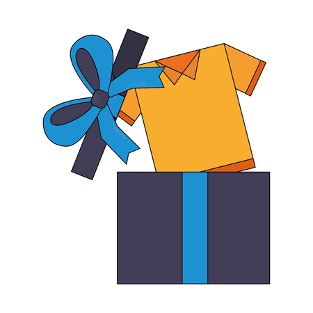 yellow shirt coming out gift box vector illustration Illustration