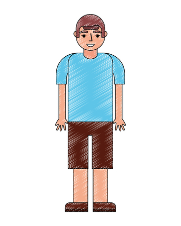 young boy character in short pants and shirt vector illustration  イラスト・ベクター素材