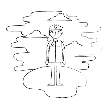 woman officer police in landscape vector illustration design Illustration
