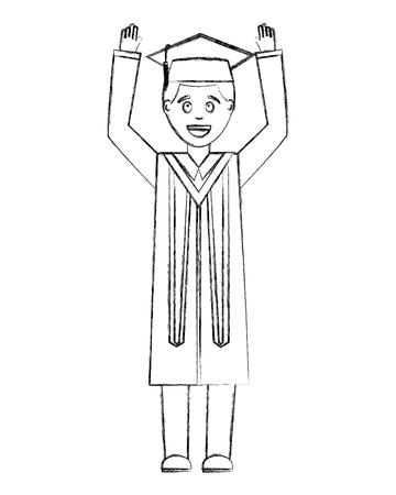 young man graduated with hands up and hat graduation vector illustration design