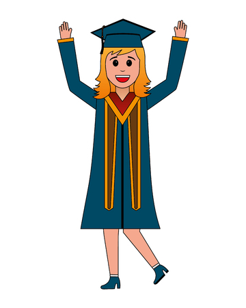 young woman graduated celebrating avatar character vector illustration design
