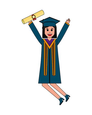 young woman graduated with diploma celebrating vector illustration design