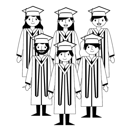 group happy smiling graduates in graduation gowns vector illustration black and white