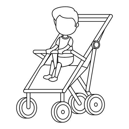 baby boy in cart vector illustration design Çizim