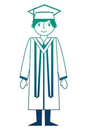 graduate man with graduation robe and cap vector illustration neon design Ilustrace