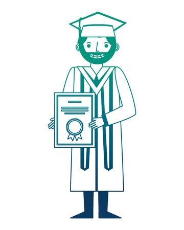 graduate man with graduation robe holds certificate vector illustration neon design