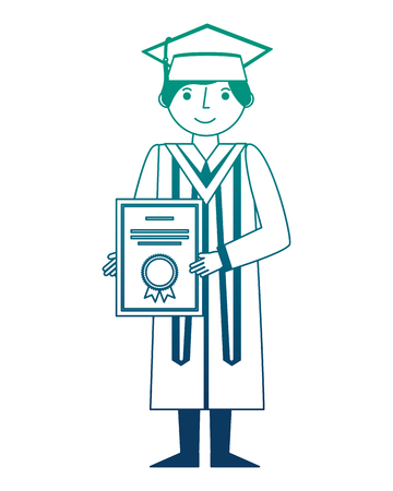 graduate woman in graduation robe and cap holds diploma vector illustration neon design