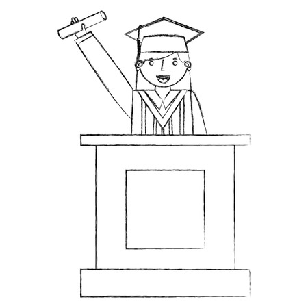 graduate woman in podium giving speech vector illustration hand draw
