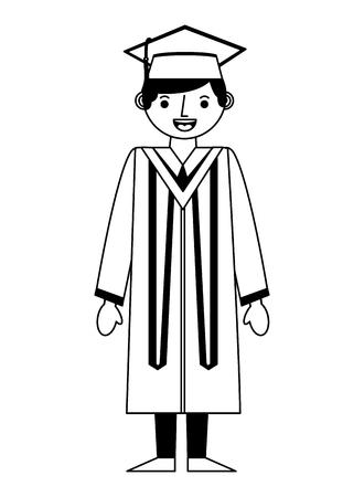 afgestudeerde man met afstuderen gewaad en pet vector illustratie zwart-wit
