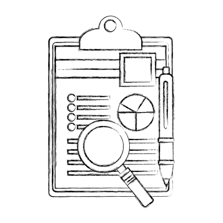 magnifying glass and checklist with document of statistics pie vector illustration design  イラスト・ベクター素材
