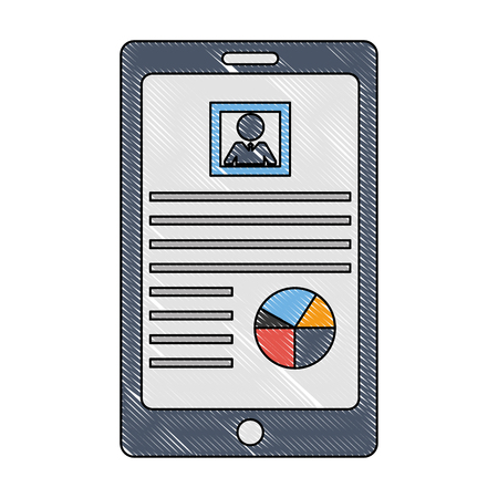 tablet device with document file and statistics pie graph vector illustration design  イラスト・ベクター素材