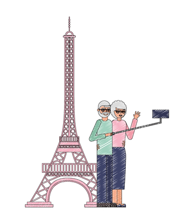 grandparents couple making selfie eiffel tower scene vector illustration Illustration