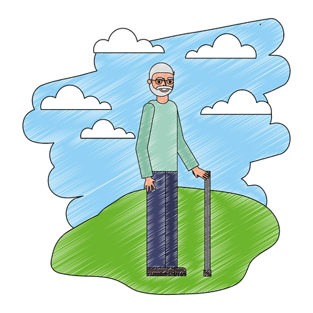 grandpa standing with cane in the landscape vector illustration Фото со стока - 112388416