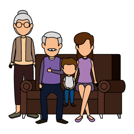family members in the sofa characters vector illustration design