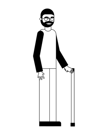 old bearded man and glasses with cane vector illustration