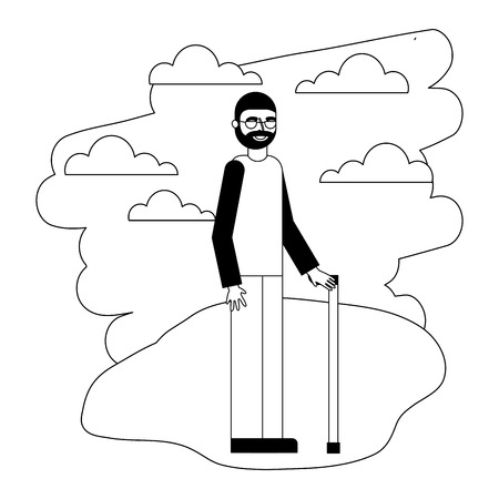grandpa standing with cane in the landscape vector illustration
