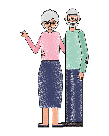 happy grandparents couple embraced characters vector illustration
