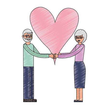cute grandparents couple holding love heart vector illustration