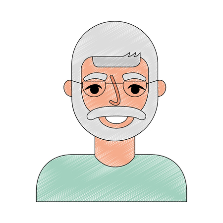portrait happy old man grandfather vector illustration