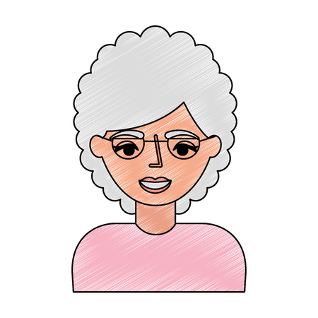 portrait elderly woman grandmother with glasses vector illustration