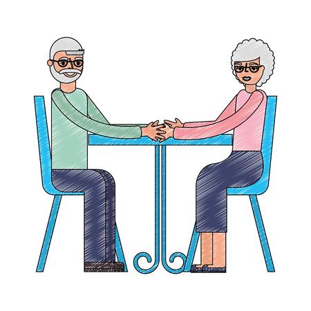 grandpa and grandma holding hands in the table vector illustration Ilustração