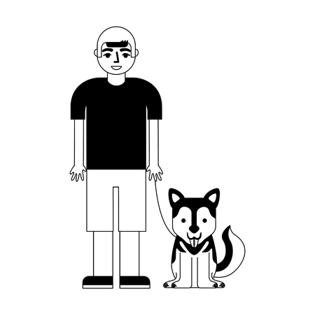 young man with dog mascot avatar character vector illustration design