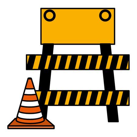 construction barricade fence with cone vector illustration design Ilustração
