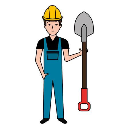 builder with shovel character vector illustration design Illustration