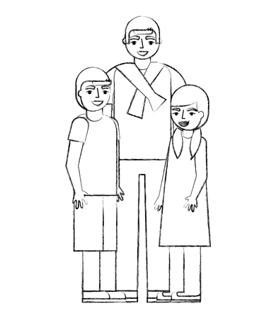 man with girl and boy family vector illustration 向量圖像