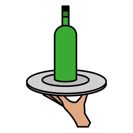 hand with tray and wine bottle vector illustration design