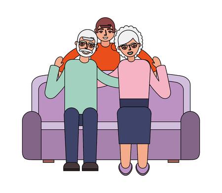 grandparents with grandson sitting on sofa vector illustration 일러스트