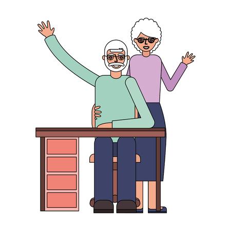 grandparents waving hand and desk furniture vector illustration