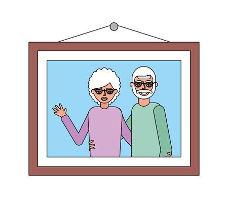 picture grandparents embraced hanging decoration vector illustration
