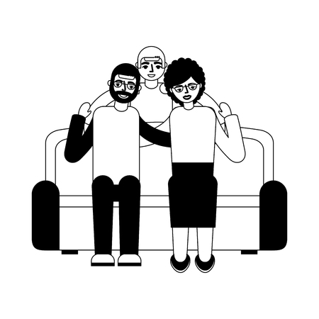 grandparents with grandson sitting on sofa vector illustration monochrome Illusztráció