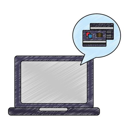 laptop bank credit card buy online vector illustration drawing Illustration