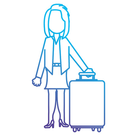 happy businesswoman with suitcase vector illustration design