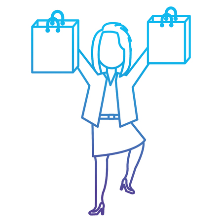 happy businesswoman with shopping bags vector illustration design