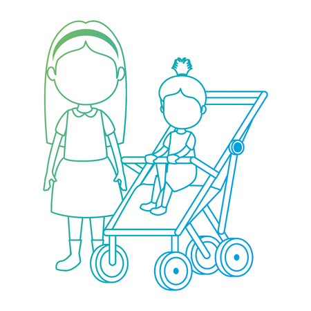 little girl baby in cart with sister vector illustration design Stok Fotoğraf - 112388499