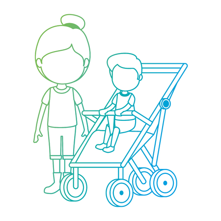 baby boy in cart with sister vector illustration design 일러스트