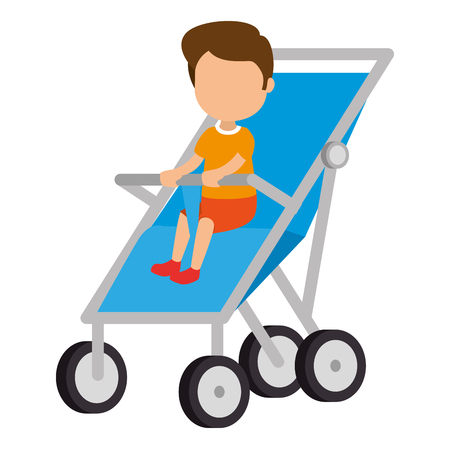 baby boy in cart vector illustration design Stok Fotoğraf - 105561497