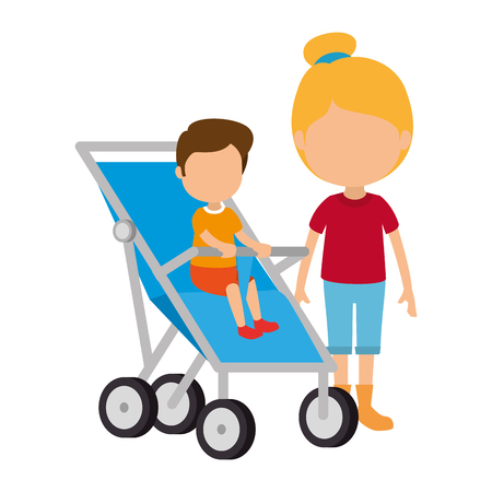 baby boy in cart with sister vector illustration design Çizim