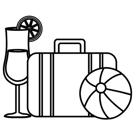 suitcase travel with balloon beach and cocktail vector illustration design Illustration